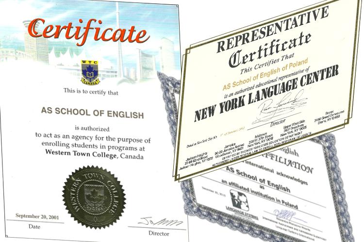 Certyfikaty szkół językowych za granicą dla AS School of English